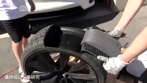 特斯拉Model X轮胎咋做到静音的?老外切开发现特斯拉真是开挂了