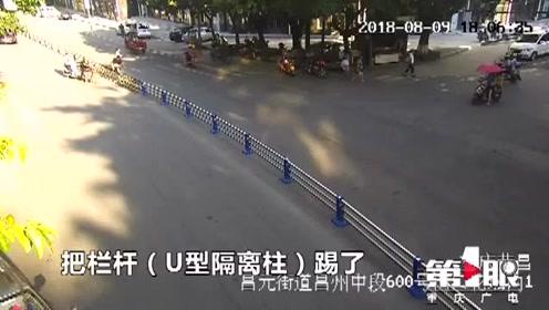 什么仇什么怨?荣昌男子故意损毁道路隔离柱 被处5日行政拘留