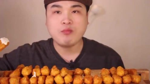 韩国吃播:大胃王donkey吃无骨芝士炸鸡,对炸鸡真的毫无抵抗力!