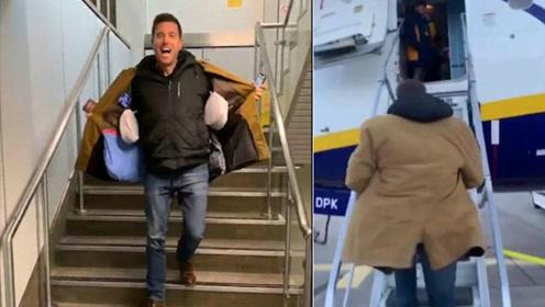 英男子为省托运费拼了! 将随身行李缝外套内成功登机