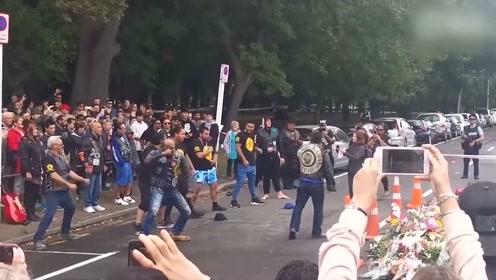 新西兰摩托车党通过毛利战舞向遇难者表达哀悼