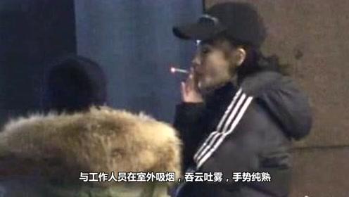 Angelababy抽烟 医院外吞云吐雾