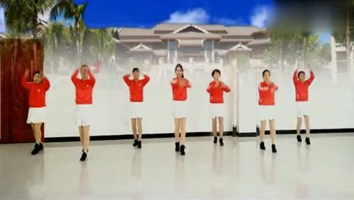 团体舞广场舞《中国红》,美女们跳得真好看,能带我一个吗?