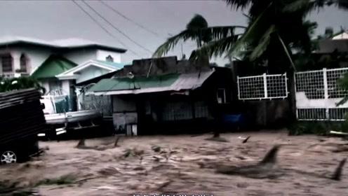 墨西哥海岸发生海啸,沿途冲毁大量房屋,甚至从天空下起了鲨鱼