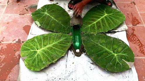 农村水泥工找来几片叶子,折腾一番之后,成品值得竖起大拇指