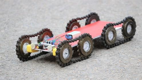 用自行车的链条和齿轮制作简易电动玩具车,网友:这创意还行
