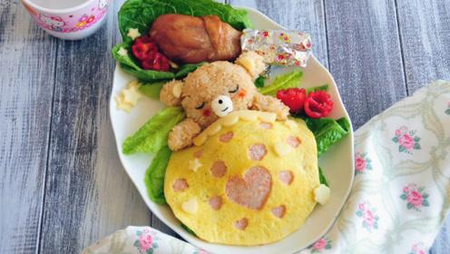 泰迪熊造型的蛋包饭与蛋糕,你更喜欢哪个呢