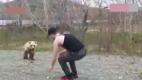 """愚蠢!战斗民族男子向野生棕熊索取""""熊抱"""",反遭袭击匆忙逃命"""