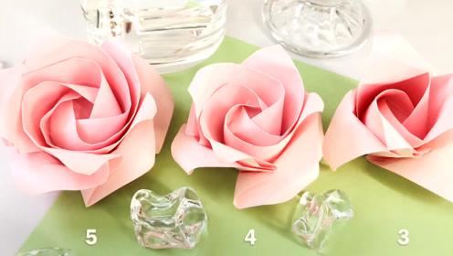 纯手工制作创意视频,彩纸折花,粉色玫瑰花真好看