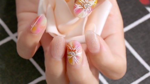 夏日风情 手绘磨砂晕染花朵