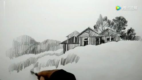 铅笔画一幅简单的风景画