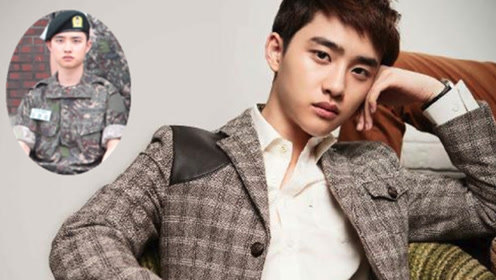 EXO都暻秀入伍军装照,一脸严肃对镜正坐
