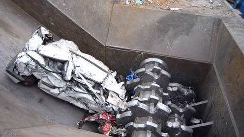 粉碎机的力量有多恐怖?看这辆汽车的下场就知道了