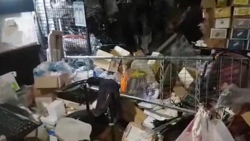 台湾宜兰凌晨发生6.4级地震 外墙钢筋凸起屋内一片狼藉
