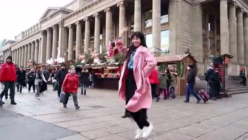 热情奔放的中国女孩,在欧洲街头热舞,老外们长见识了