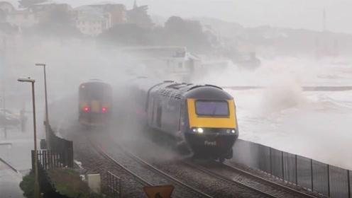 世界上最刺激的火车,海浪能直接将它吞没,不关窗可能会丧命!