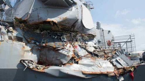 造价近20亿美金的驱逐舰,竟被油轮撞坏!美军花70万修复