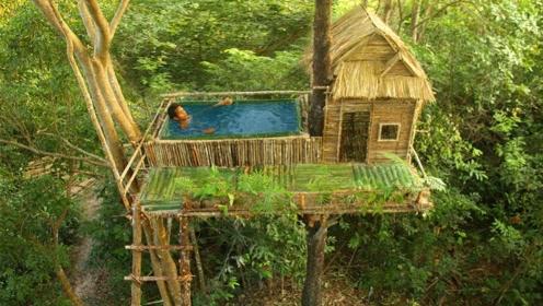不得不说老外的动手能力真强!小伙在树上做泳池,成品美极了!