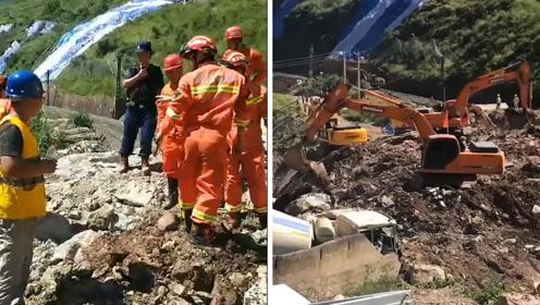 成昆铁路山体崩塌17人失联:410余人搜救 出动多台大型机械