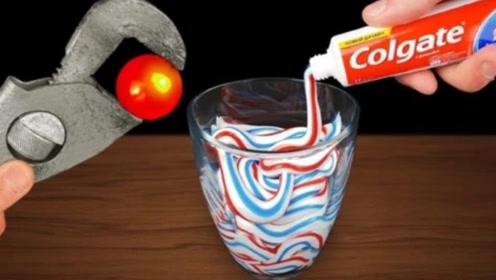将高温铁球放进满杯牙膏中,会出现啥景象?这画面我还能再看一遍