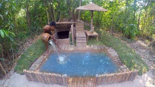 牛人在荒野打造奢华泳池,还挖出秘密豪宅,搁城里不得卖百万!
