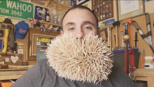 国外男子胡须插3500根牙签,刷新吉尼斯纪录,网友:人形刺猬