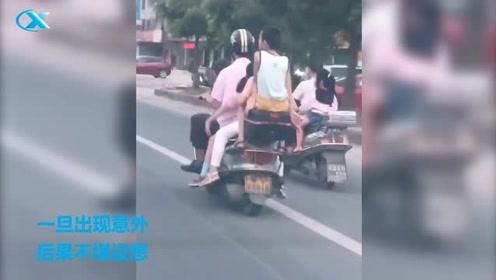 车神!一车载五人,在马路上穿梭