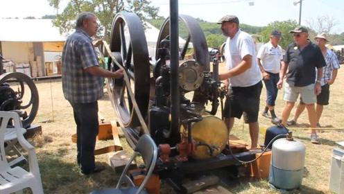 老外拿出1924年巨型发动机,看看是如何启动的,太费力了!