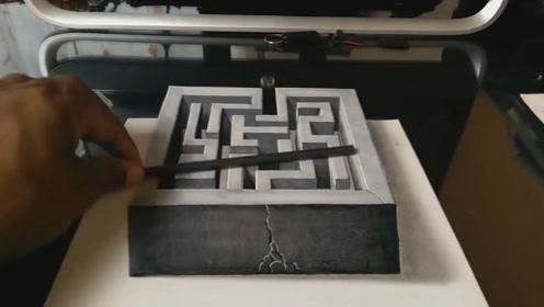 """如此""""立体""""的迷宫没见过吧?这手绘功夫我给满分!"""