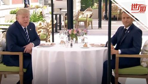 塑料友谊?特朗普和马克龙共进午餐 转头就把对方名字打错