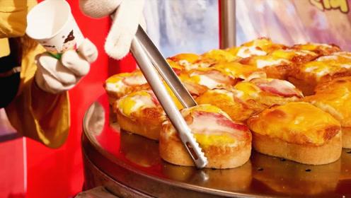 """韩国街头这个早餐火了,N个培根丢进""""铁槽""""内,嗖嗖膨胀太馋人"""
