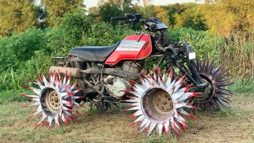 """牛人发明""""风火轮""""越野车,时速65公里,500元造一台"""
