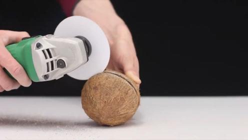 白纸居然能切开椰子?旋转的力量你想象不到,网友:真的假的