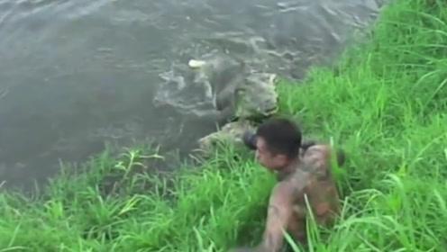 男子水边拍摄,不料旁边潜伏一只鳄鱼,接下来惊人的一幕出现了