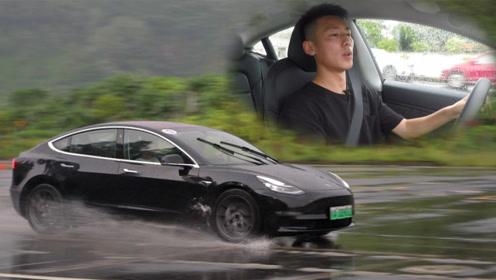 让眩晕和响胎代替声浪快感 雨天赛道试驾model 3