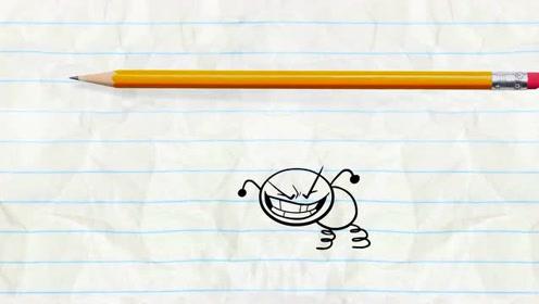搞笑铅笔动画:铅笔男遇见噩梦之王