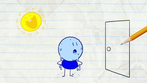 铅笔人惨遭作者整蛊,一直被太阳肆意追随,铅笔人烤得汗如雨下!