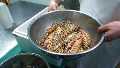 寿司大神用虾和扇贝做海鲜蛋糕,一次做一大个,但只卖一小条