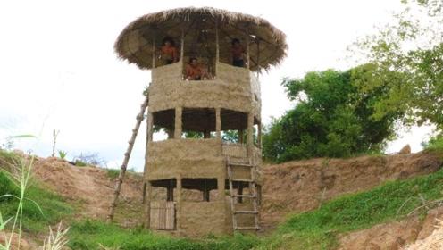 野外生存,如何搭建多层瞭望塔,感觉很厉害的样子