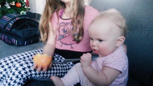 妹妹吃勺子不吃苹果!姐姐告诉你真相:勺子是苹果味的!