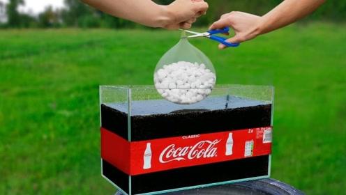 20瓶可乐与巨型曼妥思相遇,会碰撞出什么火花?场面太震撼了!