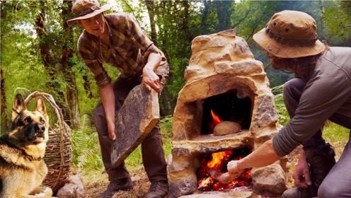 野外求生,用石头垒起原始烤箱,还是多功能的!