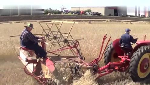 农民使用麦子收割机,这机器还能自动打捆,你觉得怎样