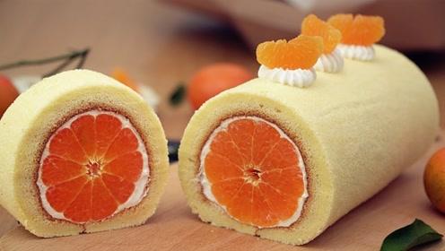 大神教你自制橘子蛋糕卷,将整个橘子卷进去,切开后太好看了