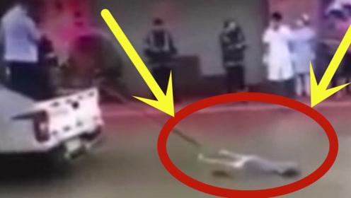 女子触电死在了水里,救援人员用车将尸体拖出来,真是太惨了