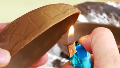 这才叫真正的巧克力蛋,切开后里面另有乾坤