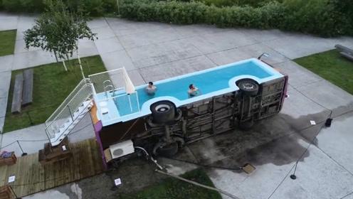 法国艺术家变废车为艺术品,成功改造巴士泳池,申请即可免费体验