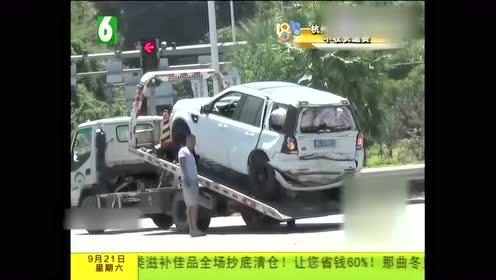 货车超载刹车不及 路虎被顶出数十米