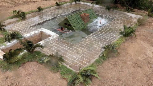 荒野生活,国外牛人在深山老林建造地下房屋,还带游泳池呢