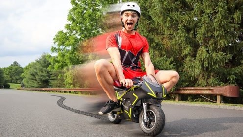 世界上最小的摩托车,老外一脚油门下去,画面让人忍不住爆笑!